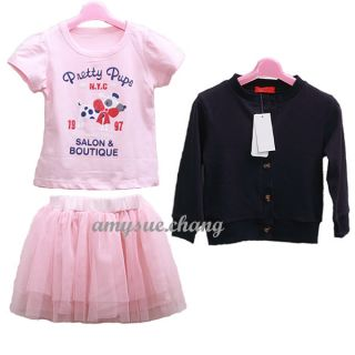 3pcs Sets Baby Girl Kid Top Coat T Shirt Skirt Tutu Outfit Costume Clothes 0 5Y