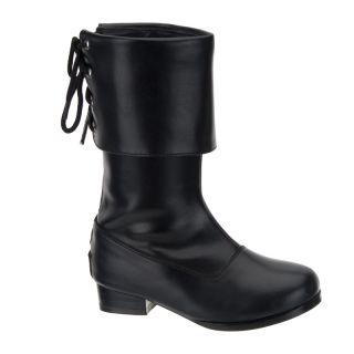 Black Pirate Childs Kids Boys Girls Boots Costume S