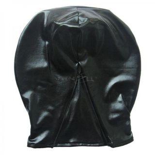 Sexy Mysterious Costume Party Halloween Hood Head Mask Zipper Headwear Black