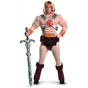 He Man Classic Muscle Costume Adult 80s Cartoon Superhero Halloween Fancy Dress