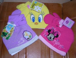 Disney Tinkerbell or Minnie Mouse Hat Cap Mittens Toddler Girls Warner Cartoon