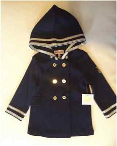 Juicy Couture Baby Girl Clothes Navy Blue Hooded Elegant Coat Size 24 Months