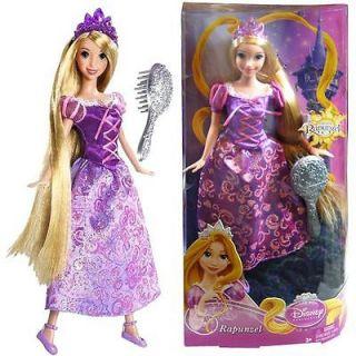 Disney Princess Rapunzel Tangled Figurine Doll Long Hair Sparling Dress Mattel