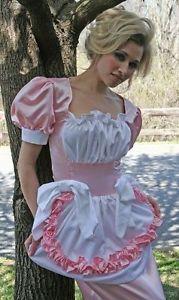 Adult Baby Sissy Crossdresser Swiss Maid Ruffle Hobble Dress Costume Custom Size