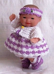 "Crochet 5"" Berenguer Itty Bitty Baby Doll Clothes Lilac White 6 PC Outfit"