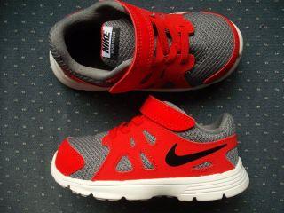 "Toddler Boys Nike Sneakers Velcro Closure Gray Red ""Revolution 2"" Sz 5c"
