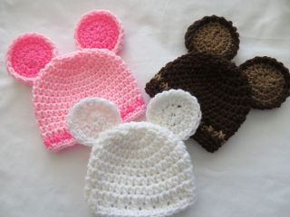 �� Babyluv Crochet Newborn Infant Teddy Bear Hat Photo Prop Baby Shower Gift