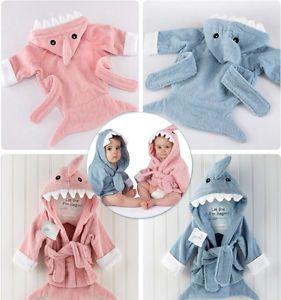 Baby Girl Boys Child Cartoon Animal Owl Hippo Hooded Bath Towel Bathrobes 0 36M