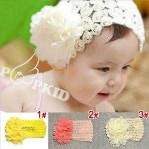 Cute Baby Girl Toddler Big Elastic Lace Bow Headband Hairband Hair Flower CA4044