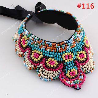 Retro Boho Acrylic Bead Handmade Collar Wrap Choker Detachable Tribal Necklace