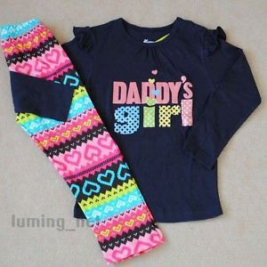 New Girls Baby Toddler Kid's Clothes 2piece Cotton Suit T Shirt Pants)Daddy'S