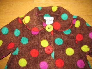 Bonnie Jean Girls 6 Brown Fleece Colorful Polkadot Coat Hat Set Soocute