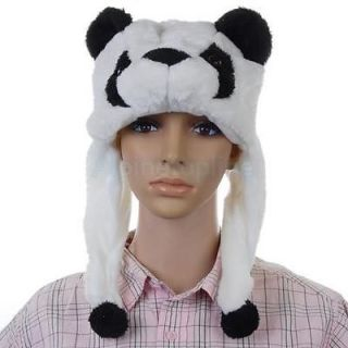 Cartoon Animal Hat Cap Panda Costume Mask Fluffy Plush