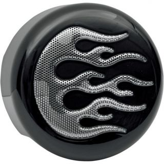 Black w Chrome Flame Horn Cover for Harley Softail Dyna Sportster Touring