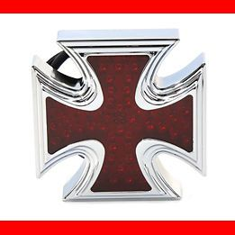 Chrome Maltese Cross Billet LED Tail Light for Harley Motorcycle Custom Bobber