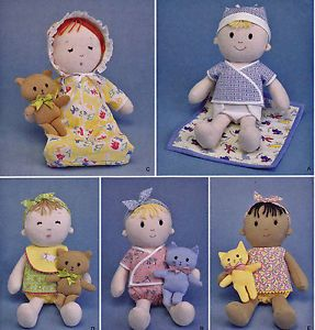 Sewing Pattern Boy Girl Stuffed Cloth Baby Dolls Clothes Kitten Cat Teddy Bear