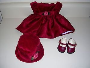 American Girl Bitty Baby Twins Doll Clothes Lot Rosy Red Dress Hat Shoes Set