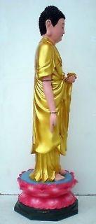 "28"" Standing Buddha Lotus Flower Swastika Gold Statue E Thailand Thai"