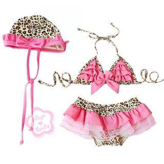 3pcs Baby Girl Kid Toddler Swimsuit Bikini Swimwear Pink Leopard Tutu Clothes 5T