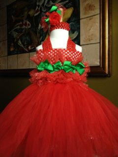 Gorgeous Red Green Holiday Tutu Dress Headband Hair Bow 0 Infant Toddler Girl