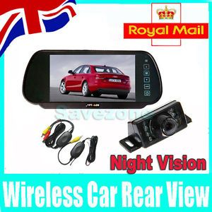 "New Wireless Reverse Camera 7"" LCD Monitor Car Rear View Mirror Kit"