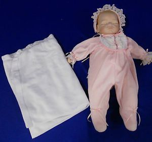 Sleeping Baby Girl Porcelain Doll w Clothing Blanket by Artist Joyce A Wolf