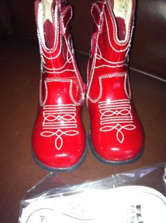 Pediped Flex Girls Red Patent Leather Cowboy Cowgirl Boots Darling Sz 7