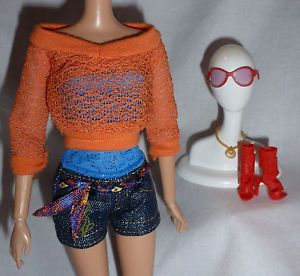 Outfit Barbie Doll Baby Phat Daisy Duke Jeans Halter Sweater Sunglasses Shoe Lot