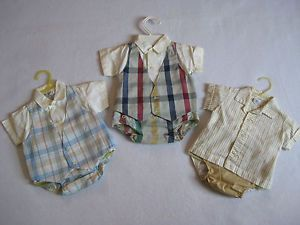 Vintage Lot of 3 Fawn Fashions Baby Boy Clothing 6 12lbs Shirt Vest Diaper Cover