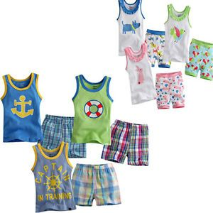 Baby Kid Cartoon Patterns Sleeveless Sleepwear Pajama Set Shot Pant Clothes