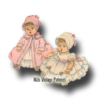 "Vtg Baby Doll Dress Bonnet Pattern 19"" 20"" 21"" Betsy Wetsy Tiny Tears DY Dee"