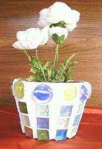 Pottery Art Handmade Mosaic Tile Clay Flower Pot Beautiful Unique