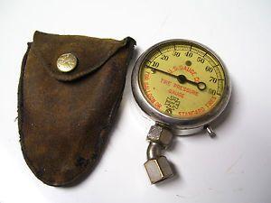 Vintage 40s Old US Tire Air Pressure Gauge Brass Car Automobile Auto Accessory