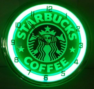 "Starbucks Coffee 15"" Neon Light Wall Clock Espresso Shop Advertising Cafe Sign"