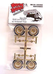 Hoppin Hydros Gold Deep Dish Low Rollerz Model Car Lowrider Wheels Rims Tires