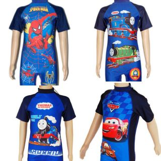2 8 yrs Toddler Kids Boys Thomas Spiderman Cartoon 1 Pcs Swimsuit Swimwear 8610B
