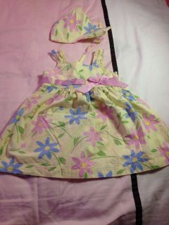 Blueberi Easter Spring Dress with Matching Head Scarf Baby Girls Size 2T