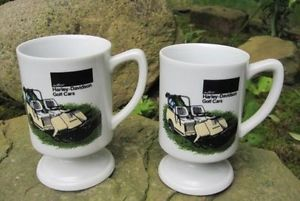 Pair of AMF Harley Davidson Golf Cars Coffee Mugs Carts Two Cups