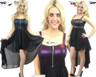 Ladies New Zip Bra Top Chiffon Skirt Dresses Tail Back Maxi Long Dress Size 8 12