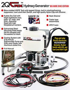 2QTRX Single Dry Cell HHO Generator Kit for Big Bore Motorcycles and ATVs