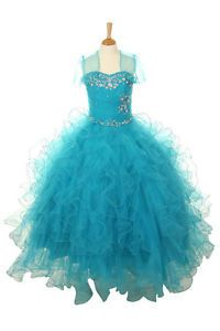 New Girl Glitz Pageant Recital Gown Party Dress Bolero 3 4 5 6 7 8 10 12 14 16