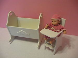 2HEARTSNKS Rocking Cradle and High Chair for 8 inch OOAK Doll Baby