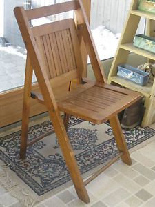Antique Wooden Folding Chair Garden Bistro Dining C 1920 Assembly Theater Church