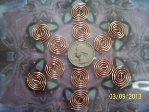 12 Copper Coils Itty Bitty's for Reiki Crystal Grid Orgone Making Supplies