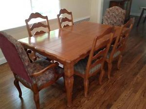 Ethan Allen Dining Room Set with 6 Chairs and Protective Pad Seats Up to 10