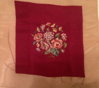 Antique Needlepoint Tapestry Chair Cover Pillow Floral Bucilla 15 x 14 Unused