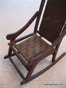 "Fabulous Antique Folk Art Folding Rocking Chair Doll Primitive 91 4"" x 13"""