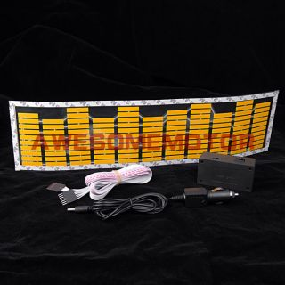 Yellow Car Music Rhythm LED Light Lamp Sticker Sound Activated Equalizer Decor