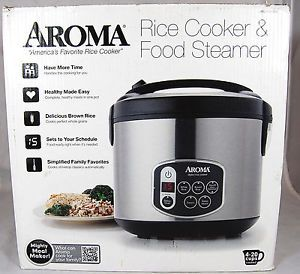Aroma Rice Cooker Food Steamer 4 to 20 Cups Cooked Stainless Steel Arc 1010SB