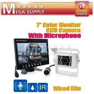 "Microphone Reversing Backup CCD Camera Car Rear View 7"" LCD Monitor"